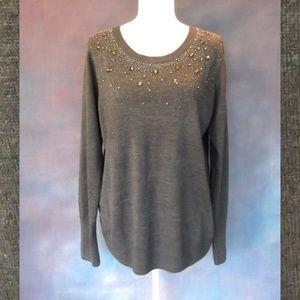 Roz & Ali Gray Sweater Crystal Embellishment XL